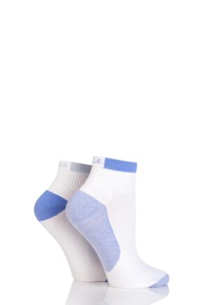 Ladies 2 Pair Elle Sport Non-Cushioned Anklet Socks Peace Blue 4-8
