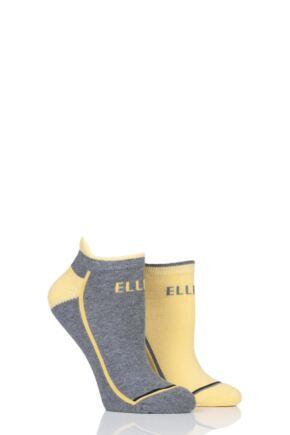 Ladies 2 Pair Elle Sports Cotton Cushioned Trainer Socks