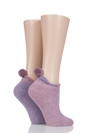 Ladies 2 Pair Elle Cushioned Trainer Liner Socks with Pom Pom