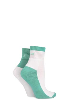 Ladies 2 Pair Elle Sports Ankle Socks Spearmint 4-8