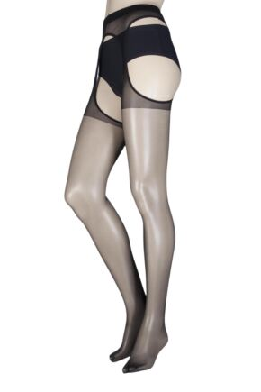 Ladies 1 Pair Trasparenze Scandal 15 Denier Strip Panty Flat Seam Tights