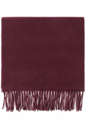 Mens and Ladies Great & British Knitwear Made In Scotland Plain 100% Cashmere Scarf Burgundy One Size