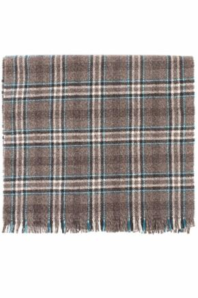 Mens and Ladies Great & British Knitwear Made In Scotland Check 100% Cashmere Scarf