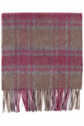 Mens and Ladies Great & British Knitwear Made In Scotland Check 100% Cashmere Scarf Red Grey Brown One Size