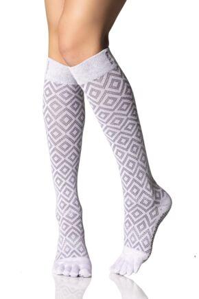 Ladies 1 Pair ToeSox Scrunch Diamond Full Toe Knee High Socks Lotus 6-8.5 Ladies