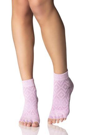 Ladies 1 Pair ToeSox Diamond Half Toe Ankle High Socks