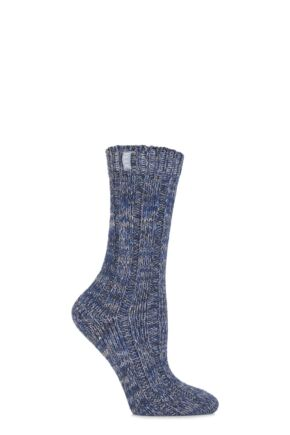 Ladies 1 Pair Elle Cotton Twisted Chunky Ribbed Boot Socks
