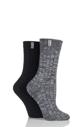 Ladies 2 Pair Elle Chunky Ribbed Boot Socks Charcoal 4-8 Ladies