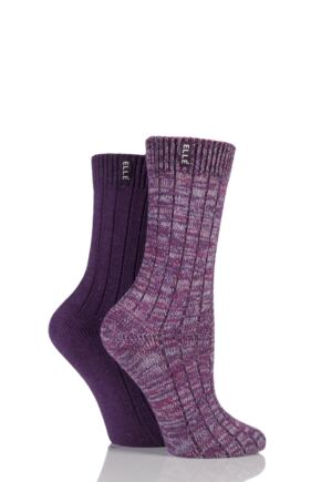 Ladies 2 Pair Elle Chunky Ribbed Boot Socks Plum 4-8 Ladies