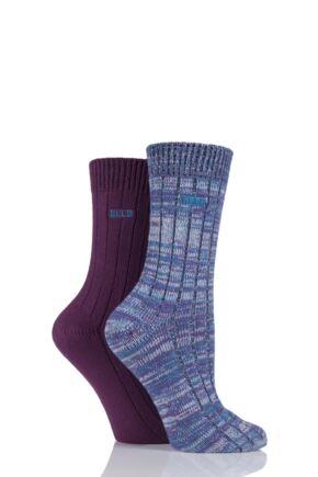 Ladies 2 Pair Elle Chunky Ribbed Boot Socks