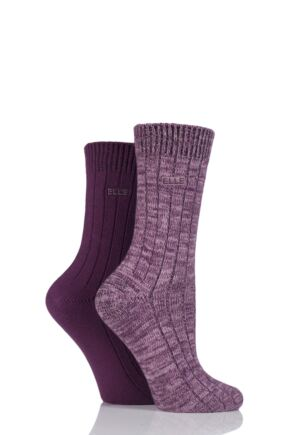 Ladies 2 Pair Elle Chunky Ribbed Boot Socks Rosewood 4-8