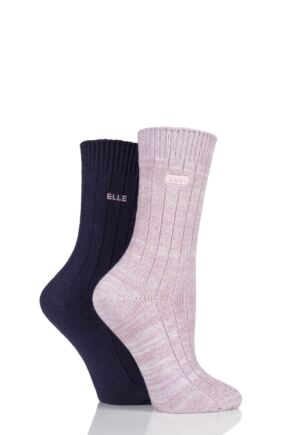 Ladies 2 Pair Elle Chunky Ribbed Boot Socks