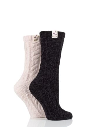 Ladies 2 Pair Elle Cable Knit Chenile Boot Socks