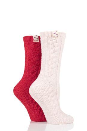 Ladies 2 Pair Elle Cable Knit Chenile Boot Socks Cranberry 4-8 Ladies