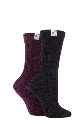 Ladies 2 Pair Elle Cable Knit Chenille Boot Socks