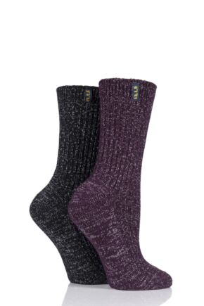 Ladies 2 Pair Elle Velvet Soft Ribbed Boot Socks