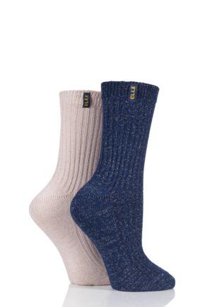 Ladies 2 Pair Elle Velvet Soft Ribbed Boot Socks
