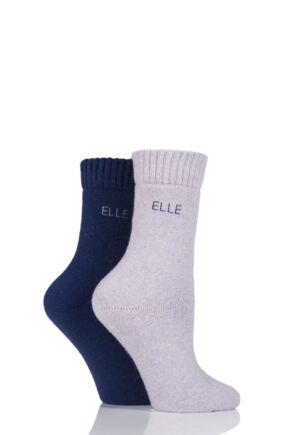 Ladies 2 Pair Elle Wool Mix Brushed Inside Boot Socks