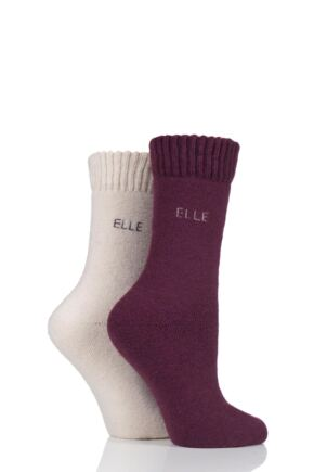 Ladies 2 Pair Elle Wool Mix Brushed Inside Boot Socks