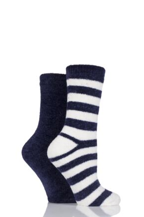 Ladies 2 Pair Elle Striped Chenille Boot Socks