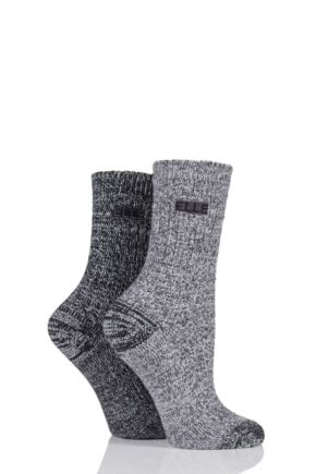 Ladies 2 Pair Elle Velvet Soft Boot Socks