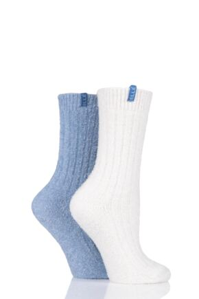 Ladies 2 Pair Elle Ribbed Boucle Boot Socks