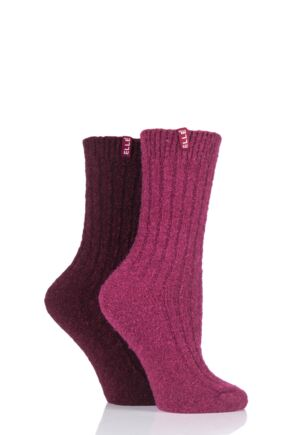 Ladies 2 Pair Elle Ribbed Boucle Boot Socks