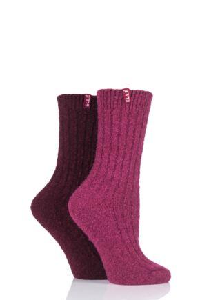 Ladies 2 Pair Elle Ribbed Boucle Boot Socks Dark Ruby 4-8 Ladies