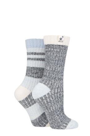 Ladies 2 Pair Elle Soft Ribbed Boot Socks