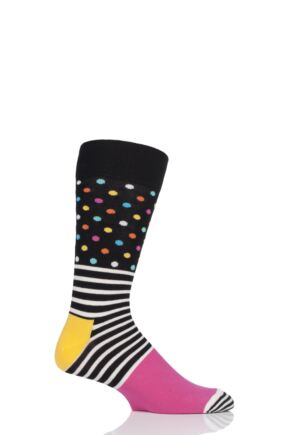 Mens and Ladies 1 Pair Happy Socks Stripes and Dots Combed Cotton Socks