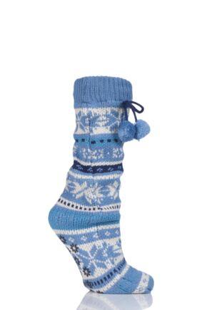Ladies 1 Pair Elle Stripe Fairisle Home Knit Bootie sale sale
