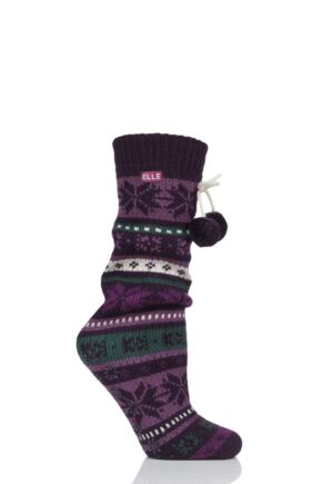 Ladies 1 Pair Elle Stripe Fairisle Home Knit Bootie