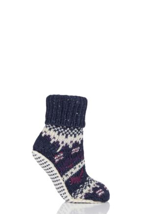 Ladies 1 Pair Elle Chunky Fair Isle Moccasin Grip Socks Blackbird 4-8 Ladies