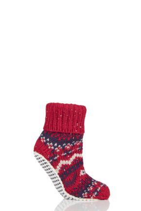 Ladies 1 Pair Elle Chunky Fair Isle Moccasin Grip Socks Cranberry 4-8 Ladies