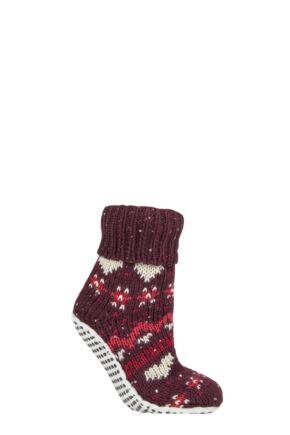 Ladies 1 Pair Elle Chunky Fair Isle Moccasin Grip Socks Dark Ruby 4-8 Ladies