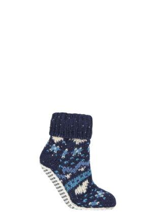 Ladies 1 Pair Elle Chunky Fair Isle Moccasin Grip Socks Midnight 4-8 Ladies