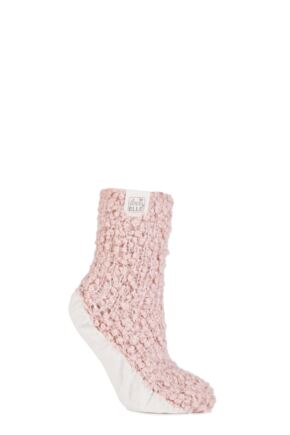 Ladies 1 Pair Elle Popcorn Sequinned Cosy Moccasin Socks Powder Pink 4-8