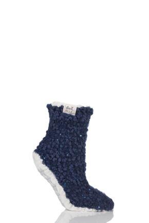 Ladies 1 Pair Elle Popcorn Sequinned Cosy Moccasin Socks