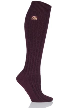 Ladies 1 Pair Elle Cable Knit Knee High Socks Pagoda