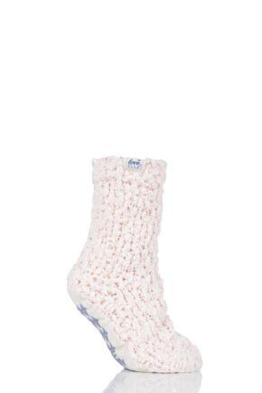 Ladies 1 Pair Elle Popcorn Sequinned Cosy Moccasin Socks Opal Pink 4-8 Ladies