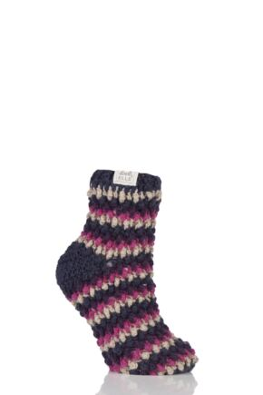 Ladies 1 Pair Elle Hand Knit Knotted Slipper Socks Purple Raven