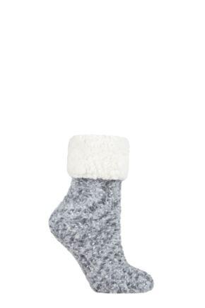 Ladies 1 Pair Elle Popcorn Feather Slipper Socks with Sherpa Lining Moon Grey 4-8 Ladies