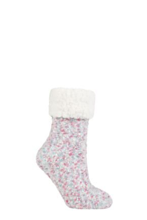 Ladies 1 Pair Elle Popcorn Feather Slipper Socks with Sherpa Lining
