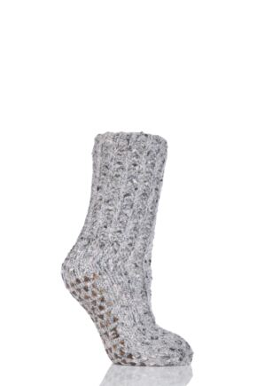 Ladies 1 Pair Elle Ribbed Feather Bootie Socks with Grip