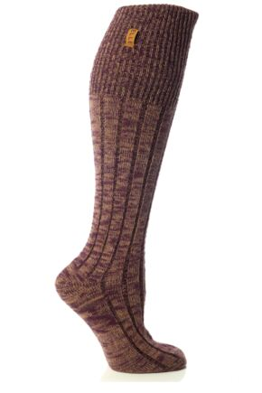 Ladies 1 Pair Elle Mixed Mouline Knee High Socks Autumn Purple