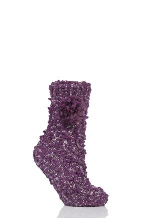 Ladies 1 Pair Elle Sparkle Pom Pom Slipper Socks