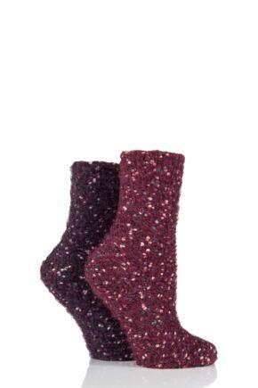 Ladies 2 Pair Elle Popcorn Feather Socks Heather Rose 4-8 Ladies