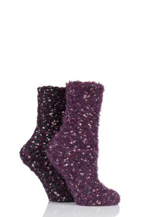 Ladies 2 Pair Elle Popcorn Feather Socks