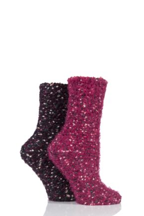 Ladies 2 Pair Elle Popcorn Feather Socks