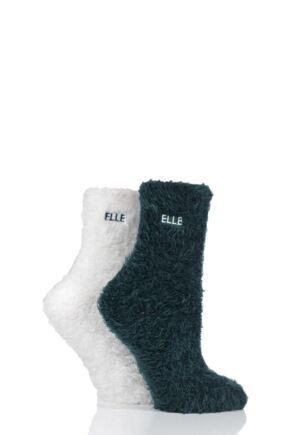 Ladies 2 Pair Elle Teddy Feather Bed Socks